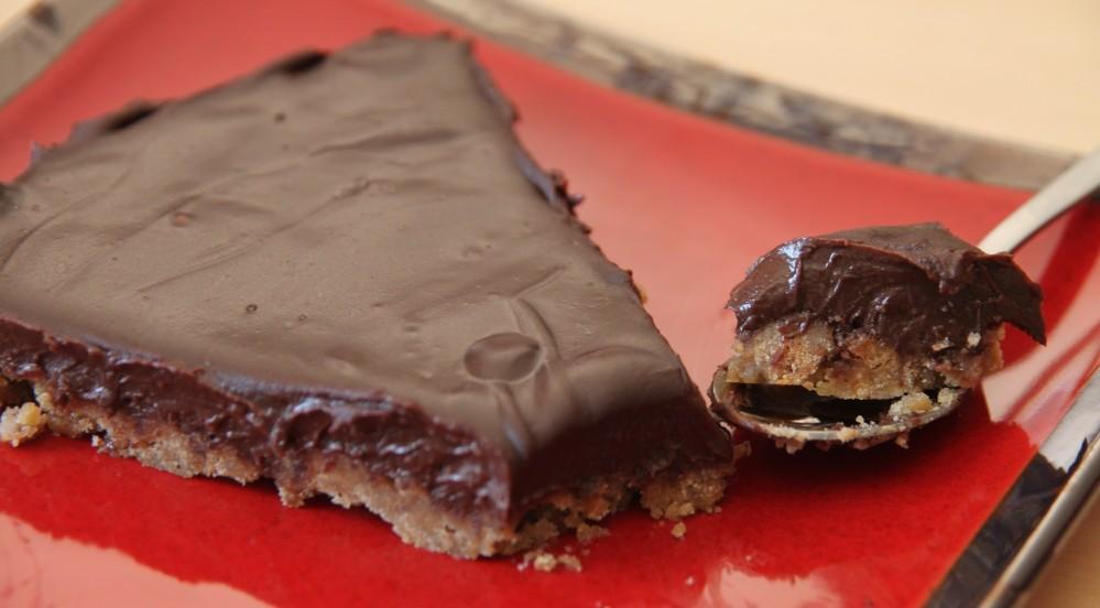 Tarte chocolat carambar sur lit de speculoos (1/2)