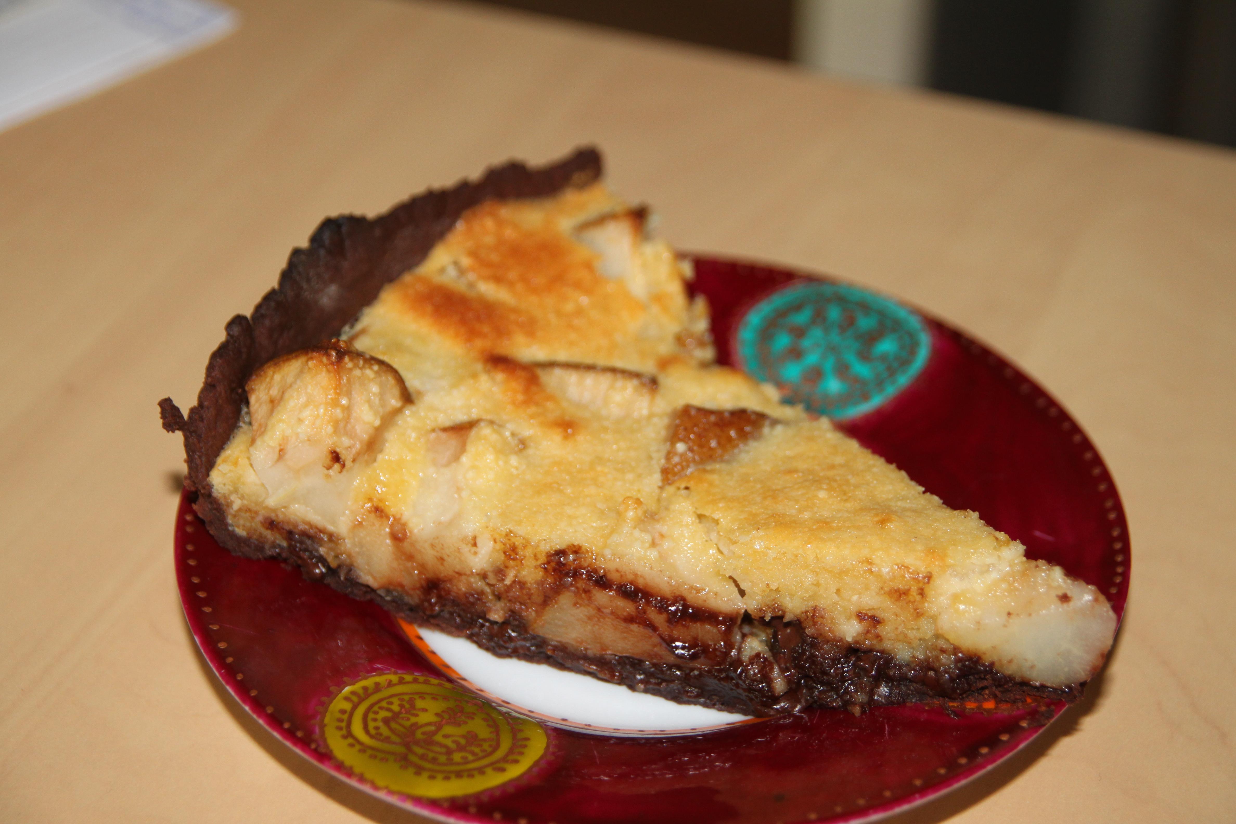 tarte poire amandine au chocolat sur p 226 te sabl 233 e au chocolat bocook