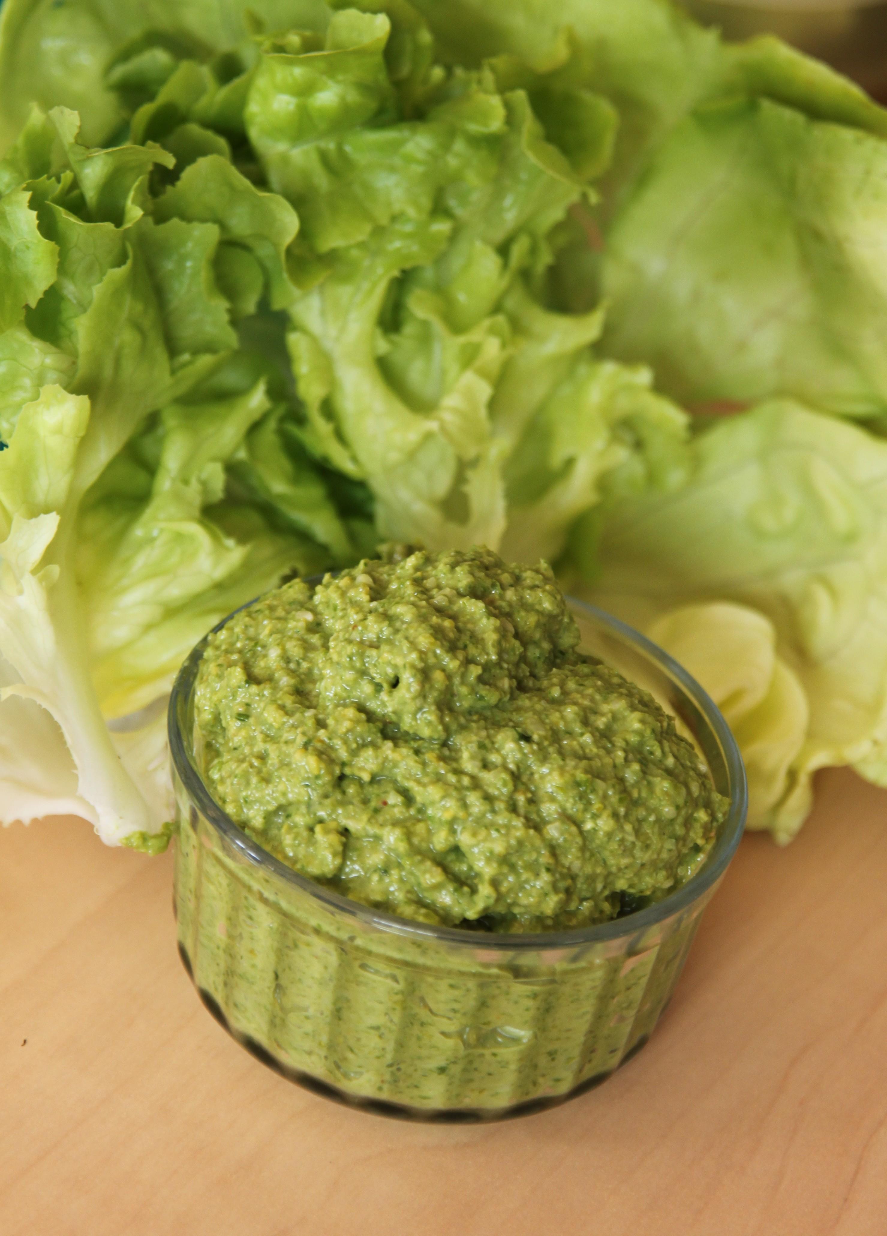 Pesto de salade verte laitue et feuille de ch ne la pistache bocook - Accompagnement salade verte ...