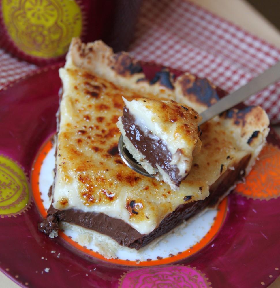Tarte à la ganache chocolat et crème brûlée vanillée