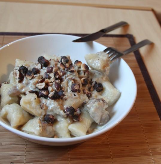 Gnocchi céleri,champignons, parmesan,