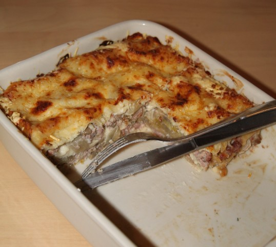 Lasagnes de porc aux endives, champignons & bleu d'Auvergne