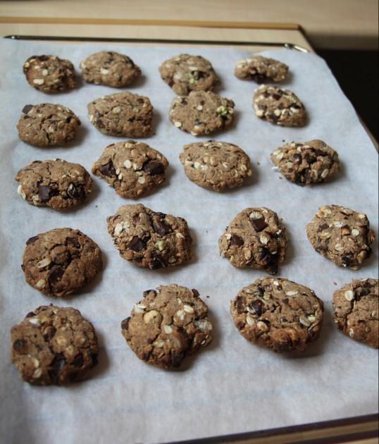 Cookies aux châtaignes, noisettes, chocolat