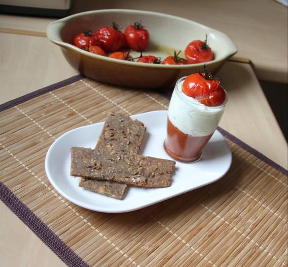 Verrines de chutney tomate-nectarine, mousse de féta