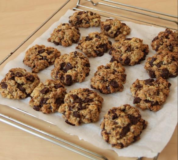 Cookies aux flocons d'avoine, huile d'olive et pépites de chocolat
