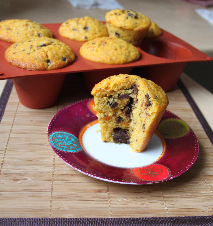 Muffins moelleux au potimarron, noix de coco & pépites de chocolat