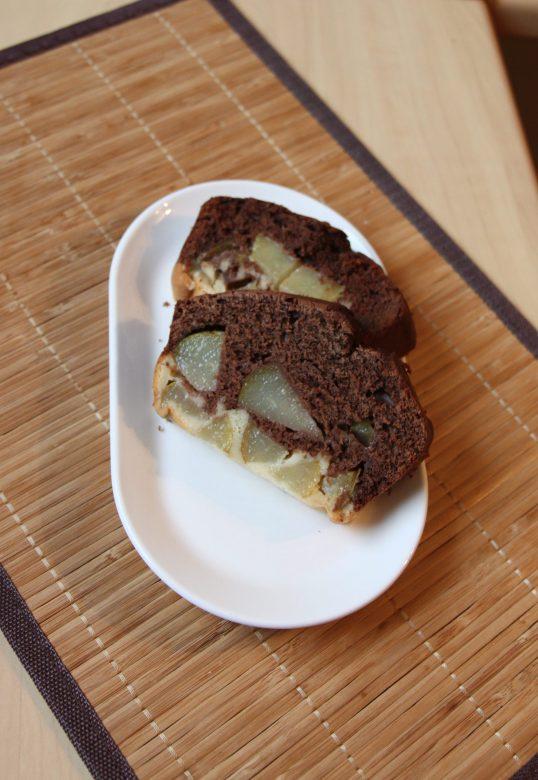 Gâteau bicouche chocolat & poire